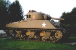The sherman tank in front of the museum
